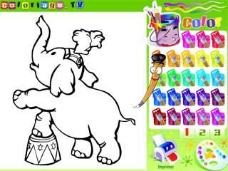 서커스 코끼리 색칠게임